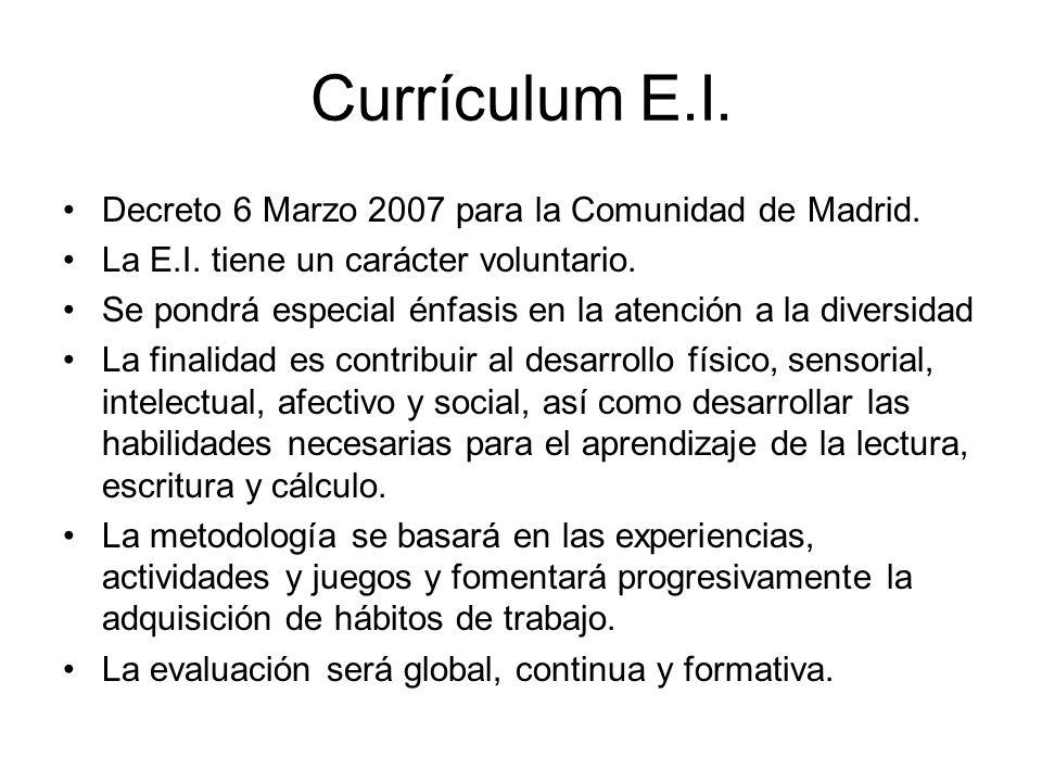 Currículum E.I. Decreto 6 Marzo 2007 para la Comunidad de Madrid. La E.I. tiene un carácter voluntario. Se pondrá especial énfasis en la atención a la