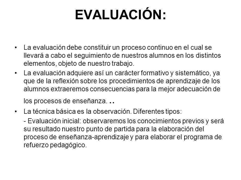 EVALUACIÓN: La evaluación debe constituir un proceso continuo en el cual se llevará a cabo el seguimiento de nuestros alumnos en los distintos element