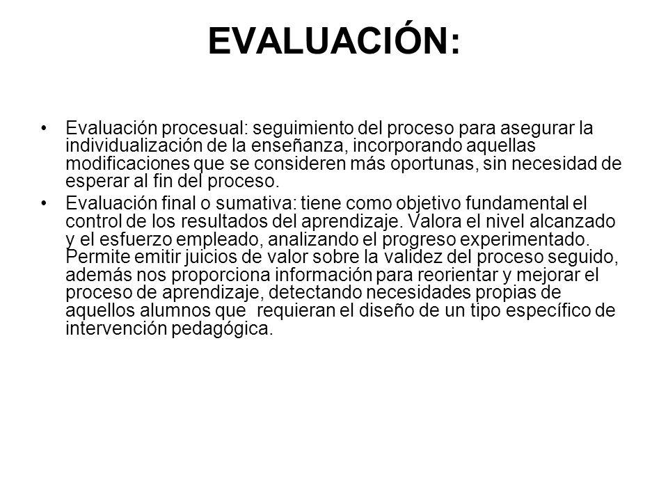 EVALUACIÓN: Evaluación procesual: seguimiento del proceso para asegurar la individualización de la enseñanza, incorporando aquellas modificaciones que