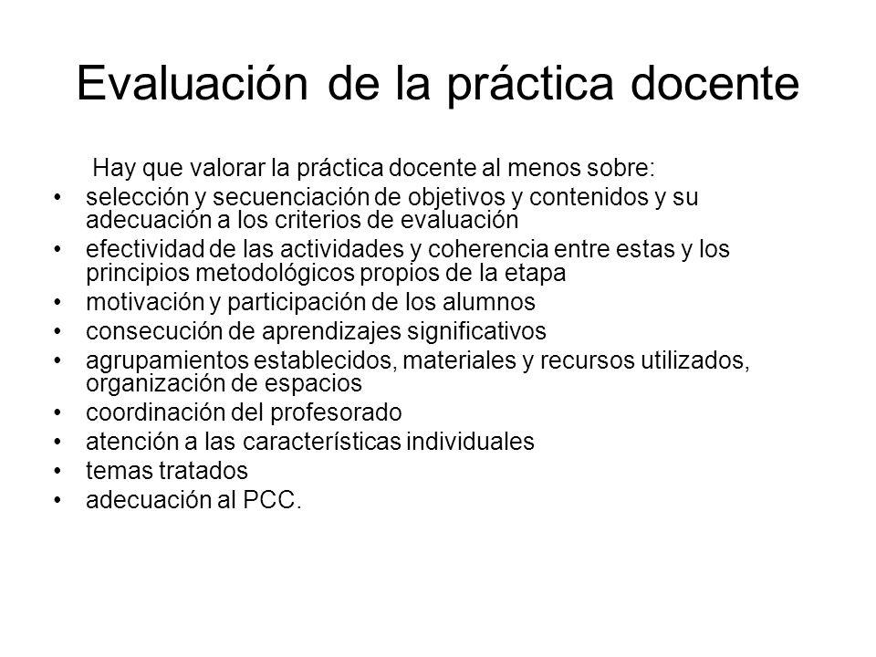 Evaluación de la práctica docente Hay que valorar la práctica docente al menos sobre: selección y secuenciación de objetivos y contenidos y su adecuac