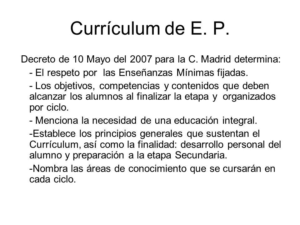 Currículum de E. P. Decreto de 10 Mayo del 2007 para la C. Madrid determina: - El respeto por las Enseñanzas Mínimas fijadas. - Los objetivos, compete