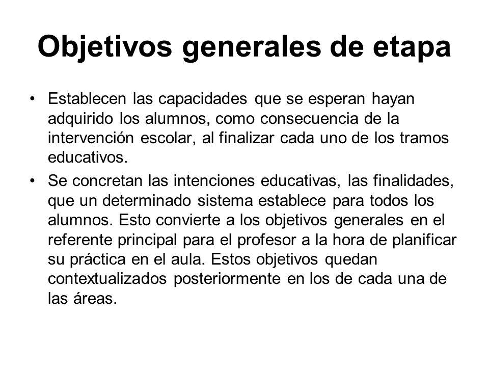Objetivos generales de etapa Establecen las capacidades que se esperan hayan adquirido los alumnos, como consecuencia de la intervención escolar, al f