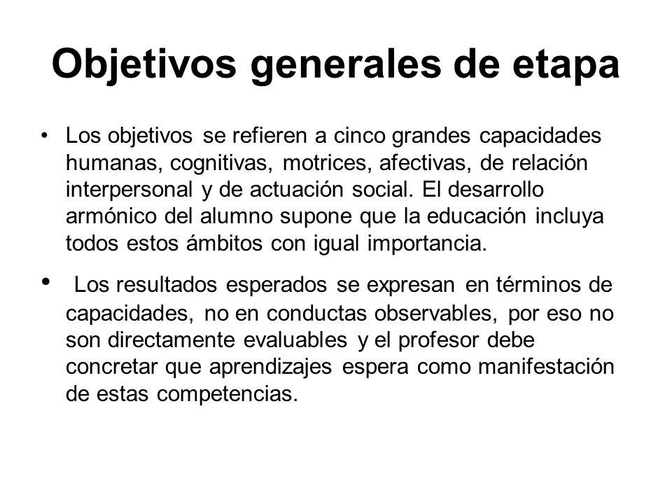 Objetivos generales de etapa Los objetivos se refieren a cinco grandes capacidades humanas, cognitivas, motrices, afectivas, de relación interpersonal