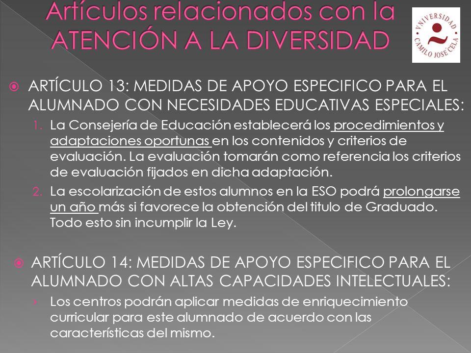ARTÍCULO 12: MEDIDAS DE APOYO ORDINARIO Medidas de carácter organizativo y metodológico.