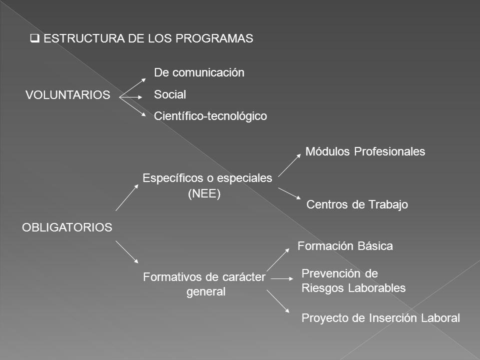 ESTRUCTURA DE LOS PROGRAMAS VOLUNTARIOS OBLIGATORIOS Específicos o especiales Módulos Profesionales Centros de Trabajo Formativos de carácter general Formación Básica Prevención de Riesgos Laborables Proyecto de Inserción Laboral De comunicación Social Científico-tecnológico (NEE)