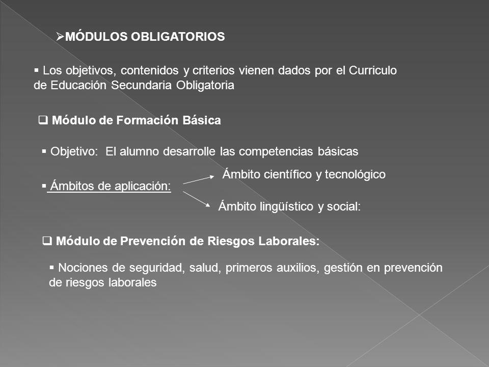 Los objetivos, contenidos y criterios vienen dados por el Curriculo de Educación Secundaria Obligatoria Módulo de Formación Básica Objetivo: El alumno desarrolle las competencias básicas Ámbitos de aplicación: MÓDULOS OBLIGATORIOS Ámbito científico y tecnológico Ámbito lingüístico y social: Módulo de Prevención de Riesgos Laborales: Nociones de seguridad, salud, primeros auxilios, gestión en prevención de riesgos laborales