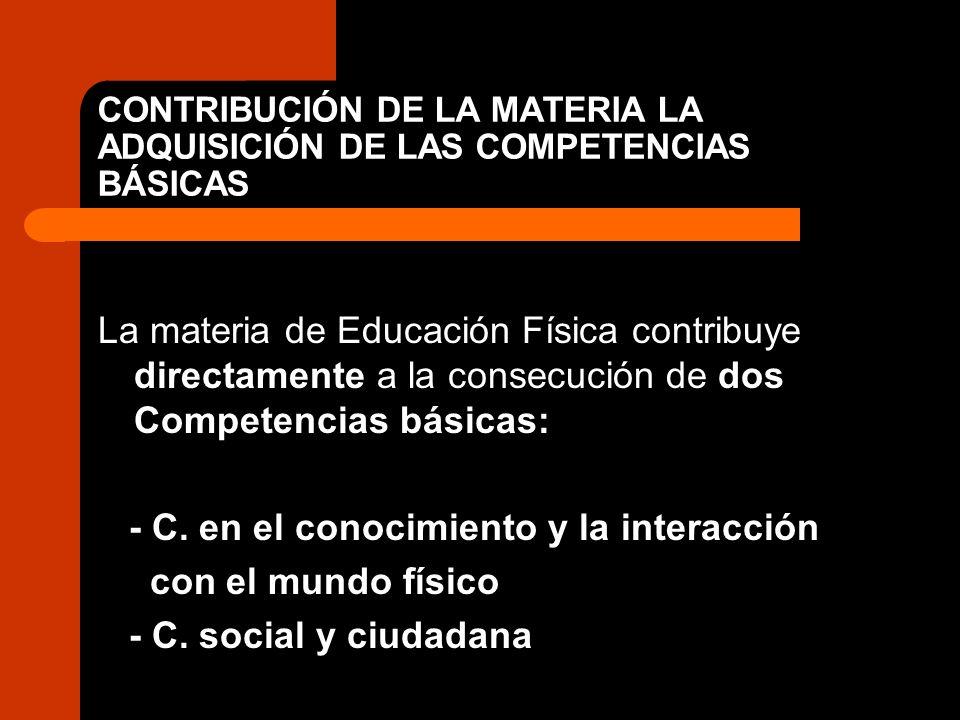 CONTRIBUCIÓN DE LA MATERIA LA ADQUISICIÓN DE LAS COMPETENCIAS BÁSICAS La materia de Educación Física contribuye directamente a la consecución de dos C