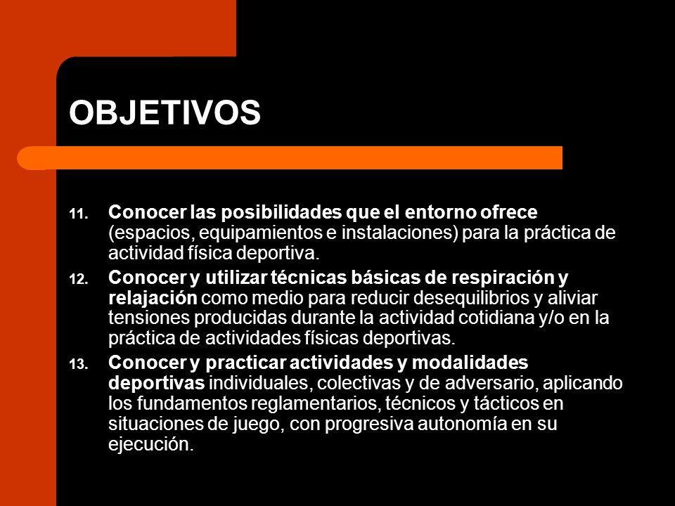 OBJETIVOS 11. Conocer las posibilidades que el entorno ofrece (espacios, equipamientos e instalaciones) para la práctica de actividad física deportiva