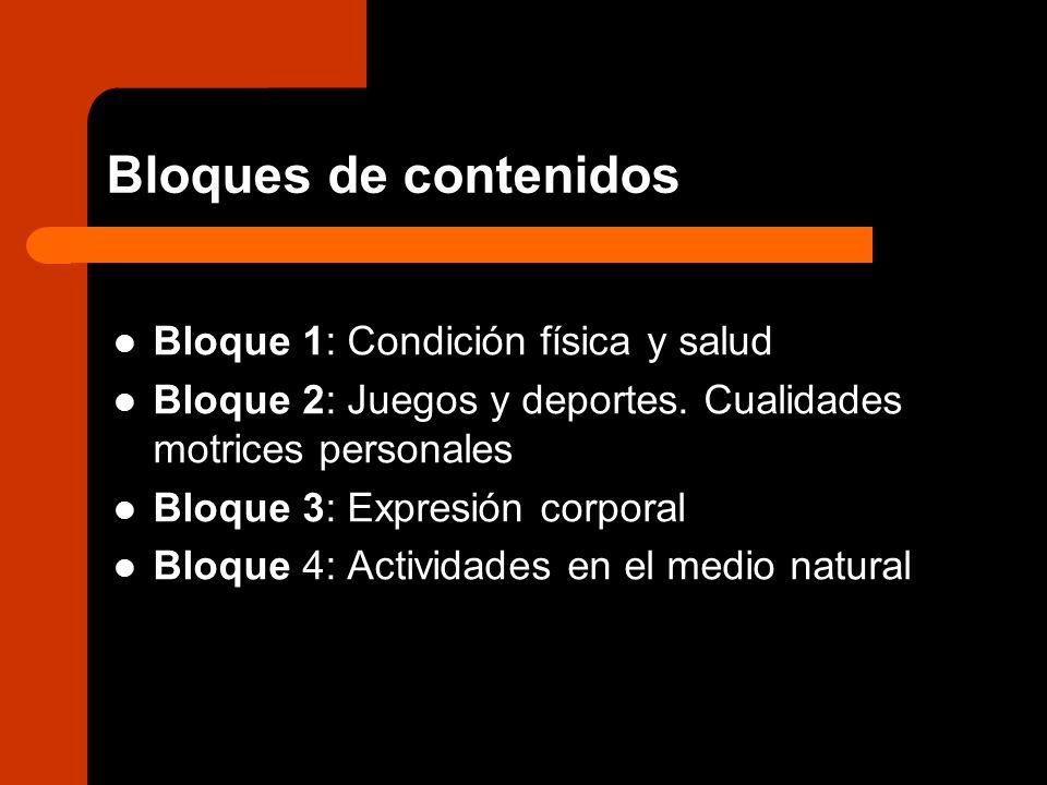 Bloques de contenidos Bloque 1: Condición física y salud Bloque 2: Juegos y deportes. Cualidades motrices personales Bloque 3: Expresión corporal Bloq