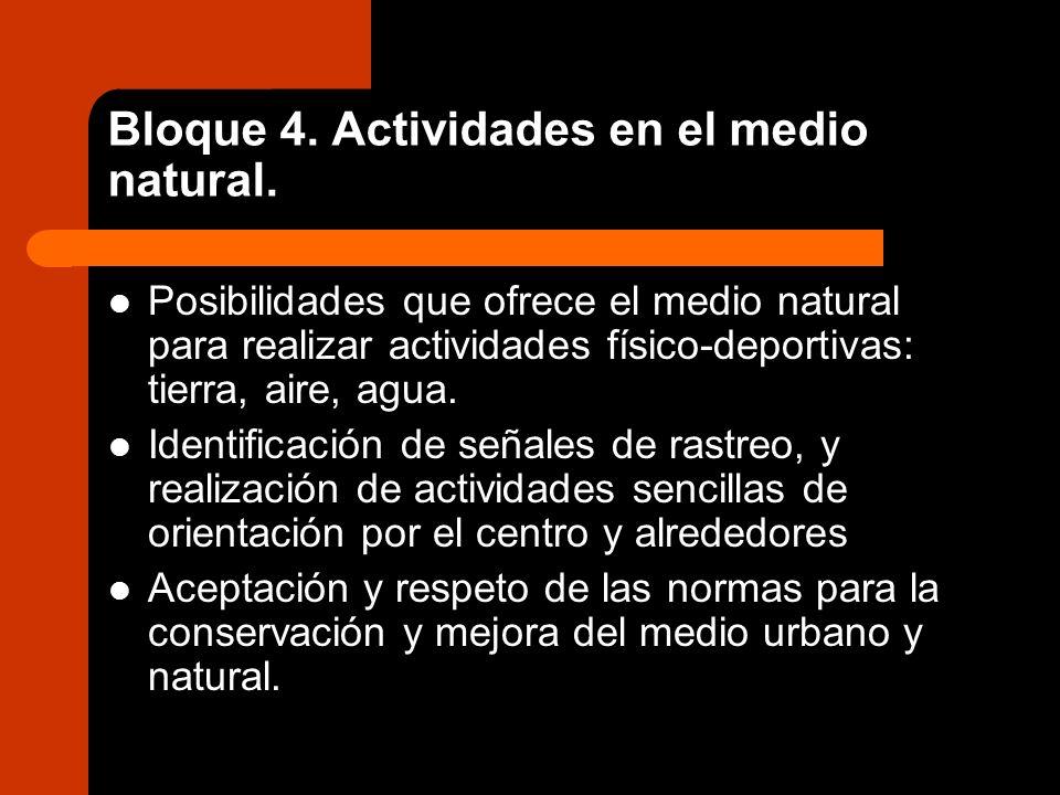 Bloque 4. Actividades en el medio natural. Posibilidades que ofrece el medio natural para realizar actividades físico-deportivas: tierra, aire, agua.
