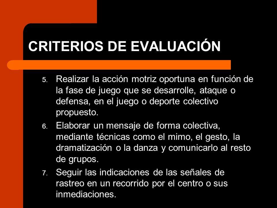 CRITERIOS DE EVALUACIÓN 5. Realizar la acción motriz oportuna en función de la fase de juego que se desarrolle, ataque o defensa, en el juego o deport