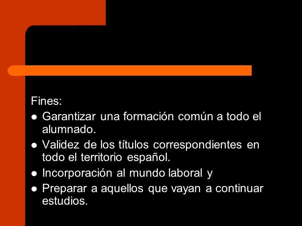 Fines: Garantizar una formación común a todo el alumnado. Validez de los títulos correspondientes en todo el territorio español. Incorporación al mund