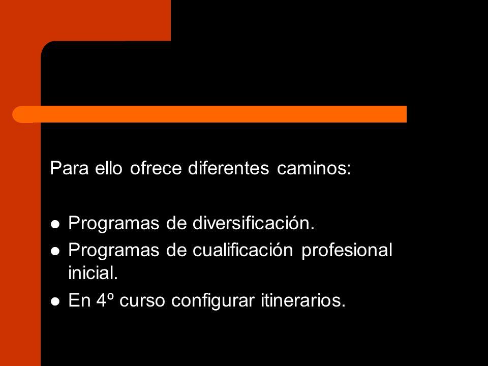 Para ello ofrece diferentes caminos: Programas de diversificación. Programas de cualificación profesional inicial. En 4º curso configurar itinerarios.