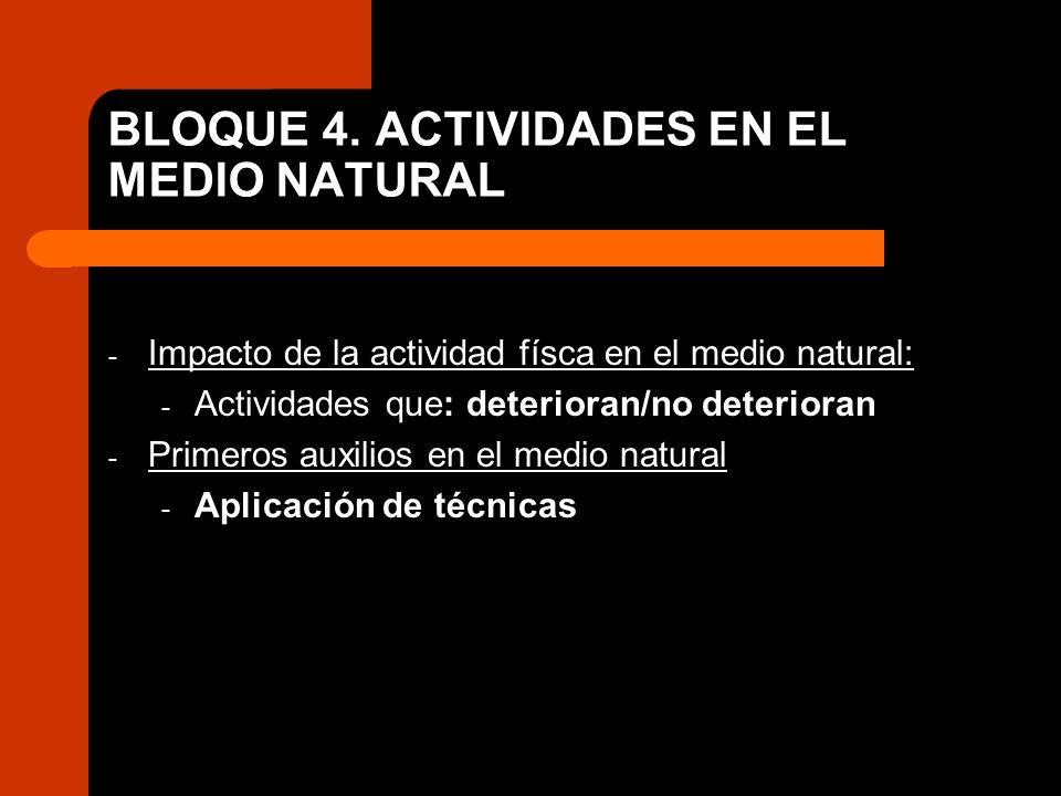 BLOQUE 4. ACTIVIDADES EN EL MEDIO NATURAL - Impacto de la actividad físca en el medio natural: - Actividades que: deterioran/no deterioran - Primeros