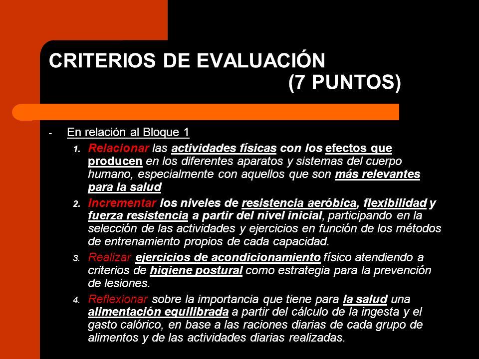 CRITERIOS DE EVALUACIÓN (7 PUNTOS) - En relación al Bloque 1 1. Relacionar las actividades físicas con los efectos que producen en los diferentes apar