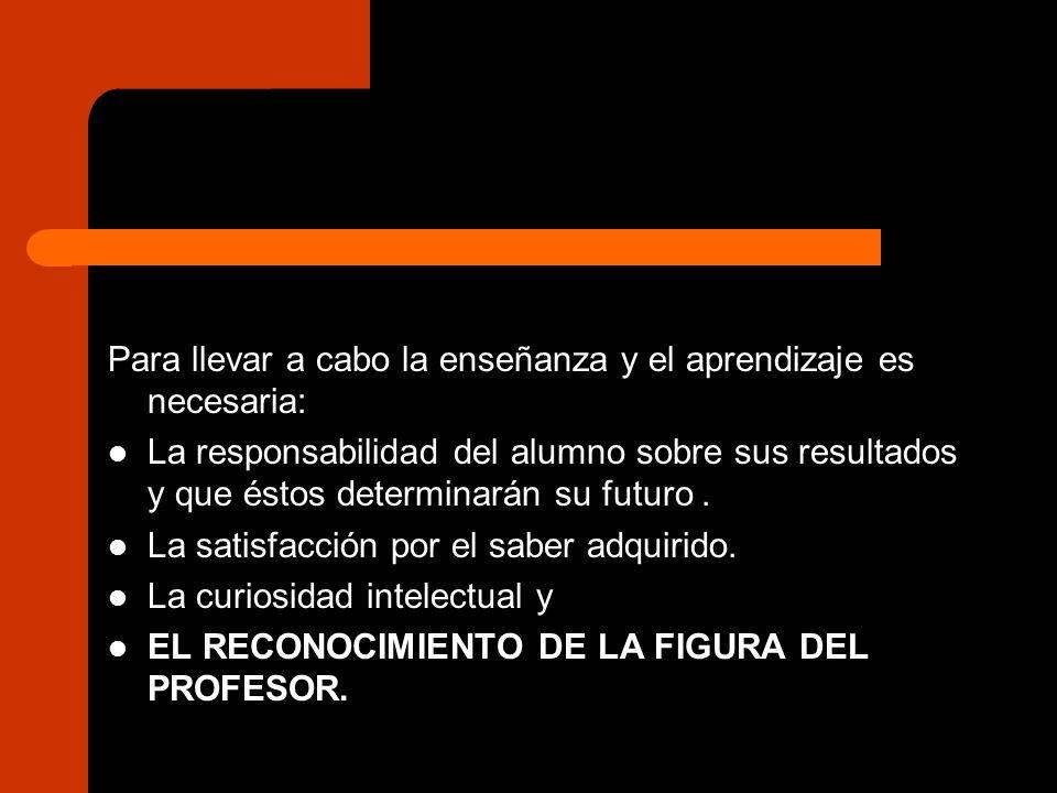 Para llevar a cabo la enseñanza y el aprendizaje es necesaria: La responsabilidad del alumno sobre sus resultados y que éstos determinarán su futuro.