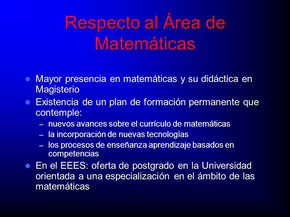 Respecto al Área de Matemáticas Mayor presencia en matemáticas y su didáctica en Magisterio Existencia de un plan de formación permanente que contempl