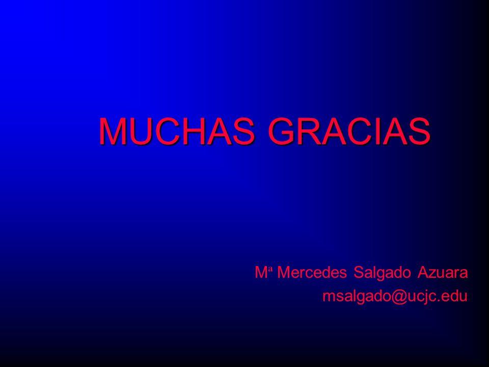 MUCHAS GRACIAS M ª Mercedes Salgado Azuara msalgado@ucjc.edu