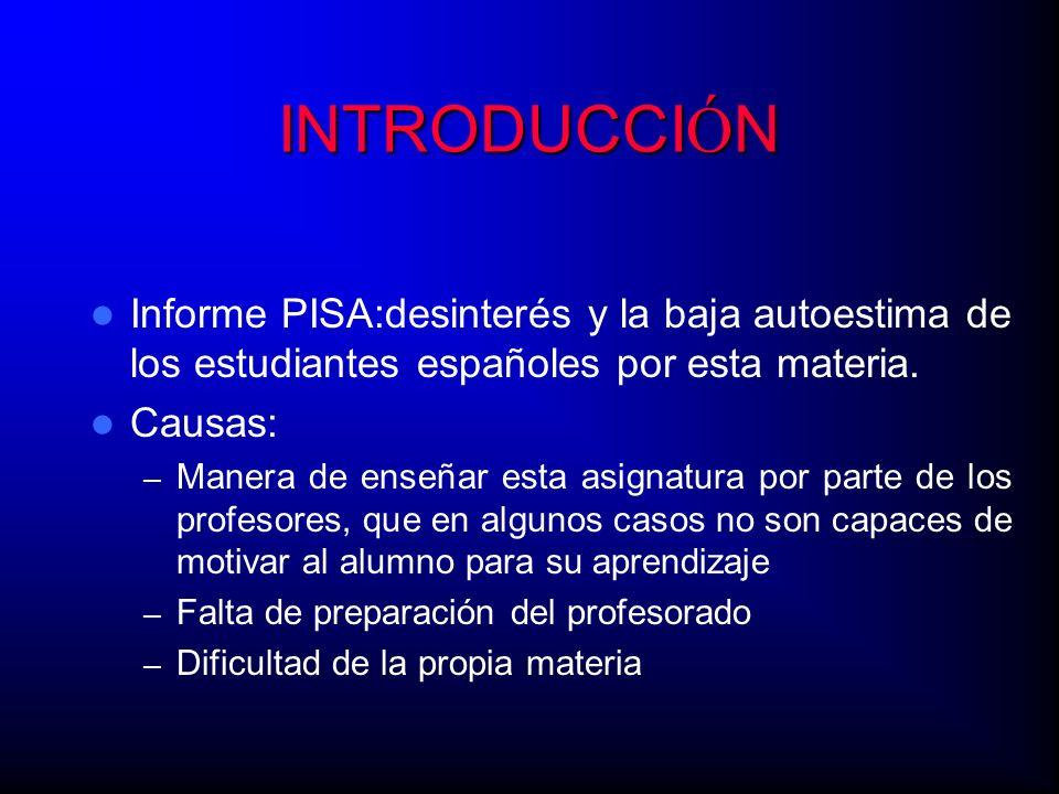 INTRODUCCI Ó N Informe PISA:desinterés y la baja autoestima de los estudiantes españoles por esta materia. Causas: – Manera de enseñar esta asignatura