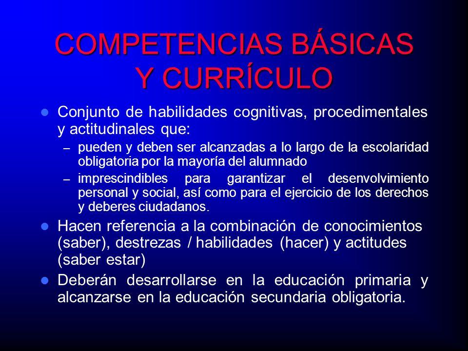 COMPETENCIAS BÁSICAS Y CURRÍCULO Conjunto de habilidades cognitivas, procedimentales y actitudinales que: – pueden y deben ser alcanzadas a lo largo d