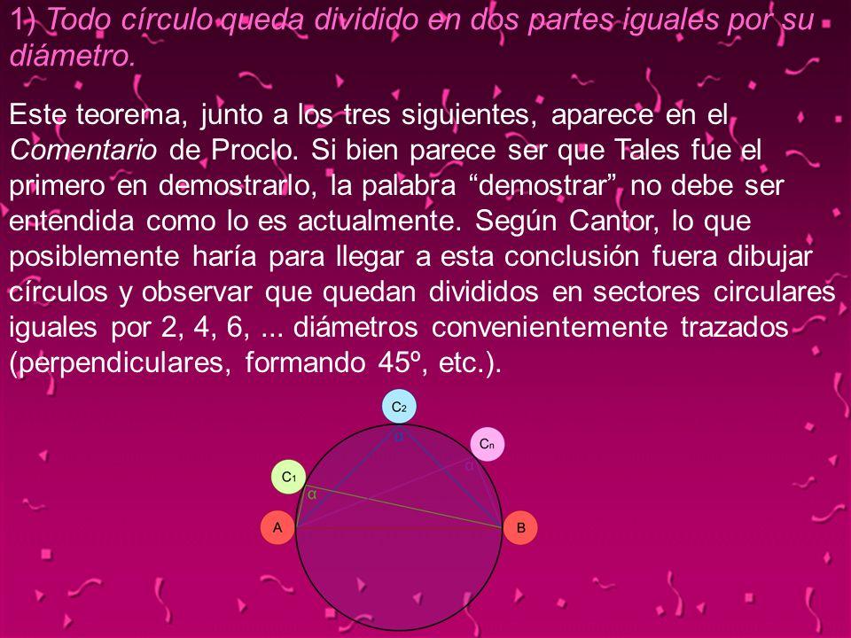 04/02/201413 1) Todo círculo queda dividido en dos partes iguales por su diámetro. Este teorema, junto a los tres siguientes, aparece en el Comentario