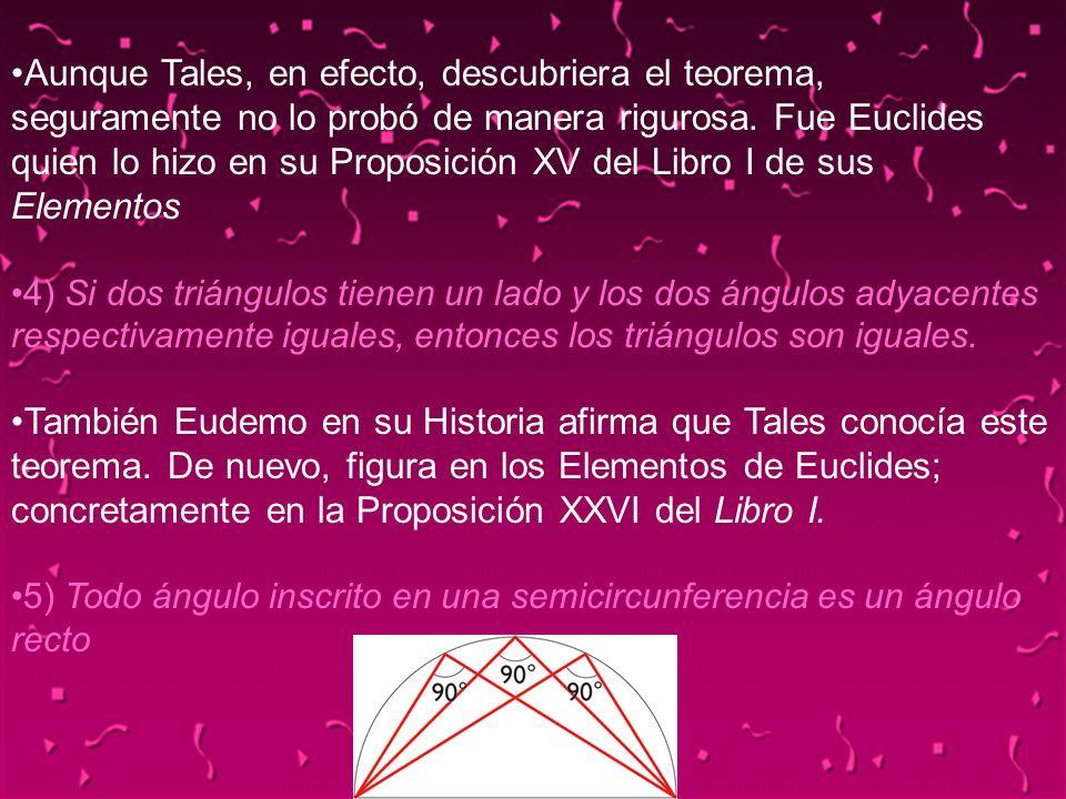 04/02/201415 Aunque Tales, en efecto, descubriera el teorema, seguramente no lo probó de manera rigurosa. Fue Euclides quien lo hizo en su Proposición