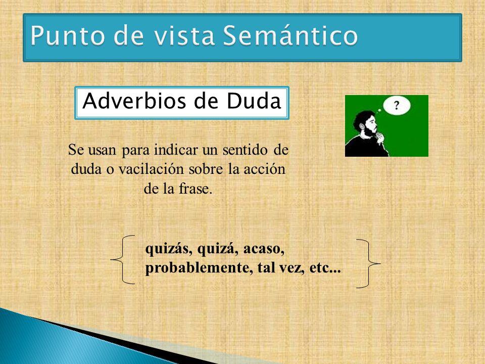 Adverbios de Duda quizás, quizá, acaso, probablemente, tal vez, etc... Se usan para indicar un sentido de duda o vacilación sobre la acción de la fras