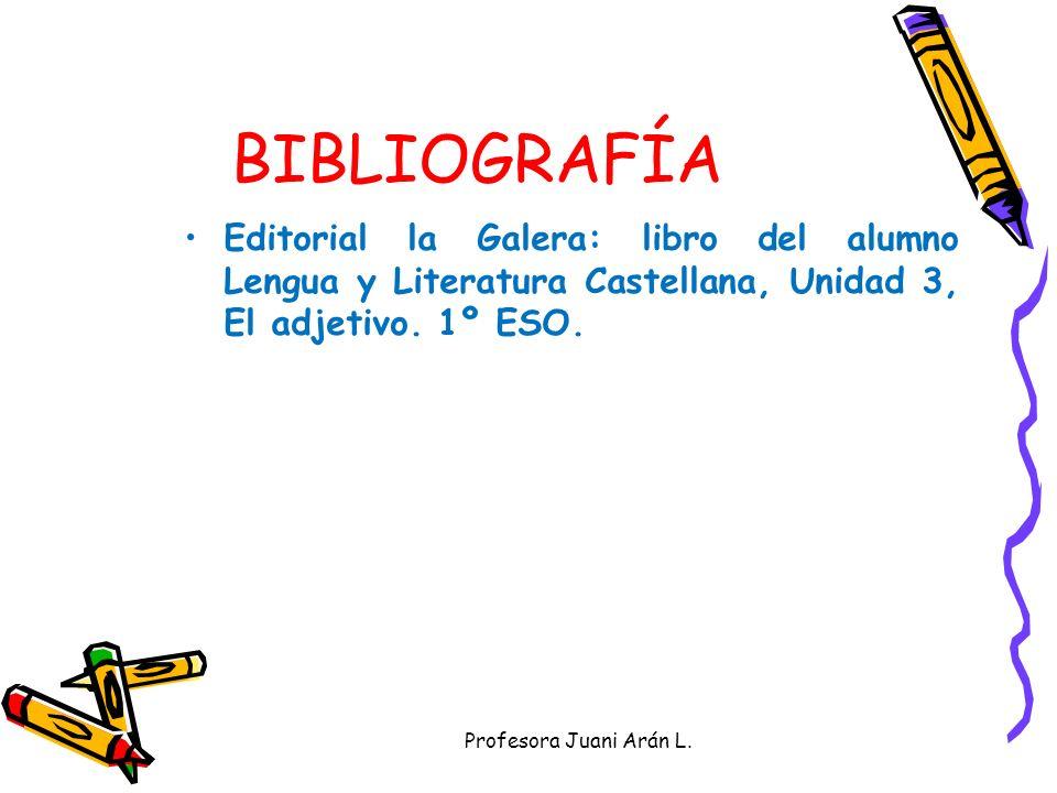 CLASES DE ADJETIVOS Debes clasificar los adjetivos del poema anterior. Profesora Juani Arán L. CALIFICATIVOSDETERMINANTES COMPLEMENTARIOS EXPLICATIVOS
