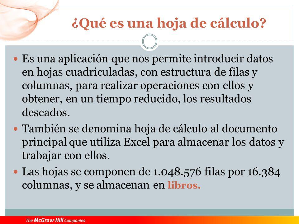 ¿Qué es una hoja de cálculo? Es una aplicación que nos permite introducir datos en hojas cuadriculadas, con estructura de filas y columnas, para reali