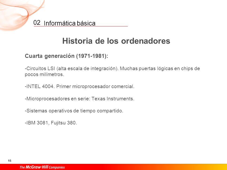 Informática básica 14 02 Historia de los ordenadores Tercera generación (1965-1970): -Chips: circuitos integrados de silicio. -Memorias de silicio en