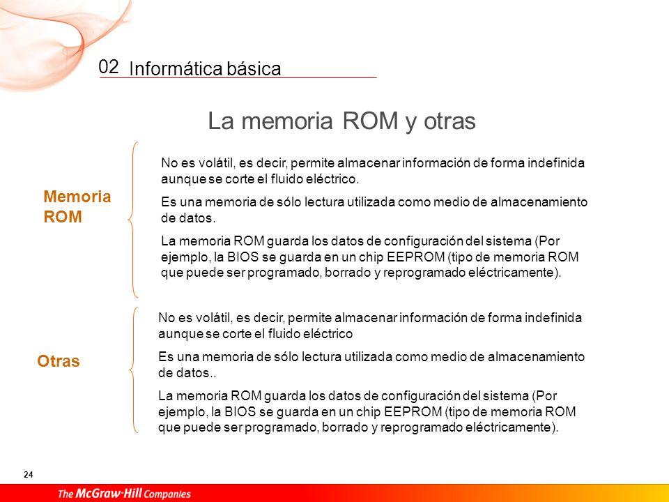 Informática básica 23 02 La memoria Memoria RAM Almacenamiento temporal: volátil. Memoria disponible en la placa base. Es muy rápida accediendo y tran