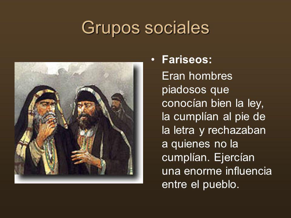 Grupos sociales Fariseos: Eran hombres piadosos que conocían bien la ley, la cumplían al pie de la letra y rechazaban a quienes no la cumplían. Ejercí