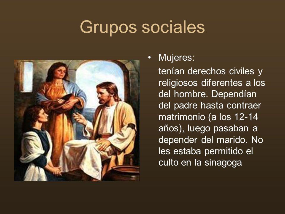 Grupos sociales Mujeres: tenían derechos civiles y religiosos diferentes a los del hombre. Dependían del padre hasta contraer matrimonio (a los 12-14