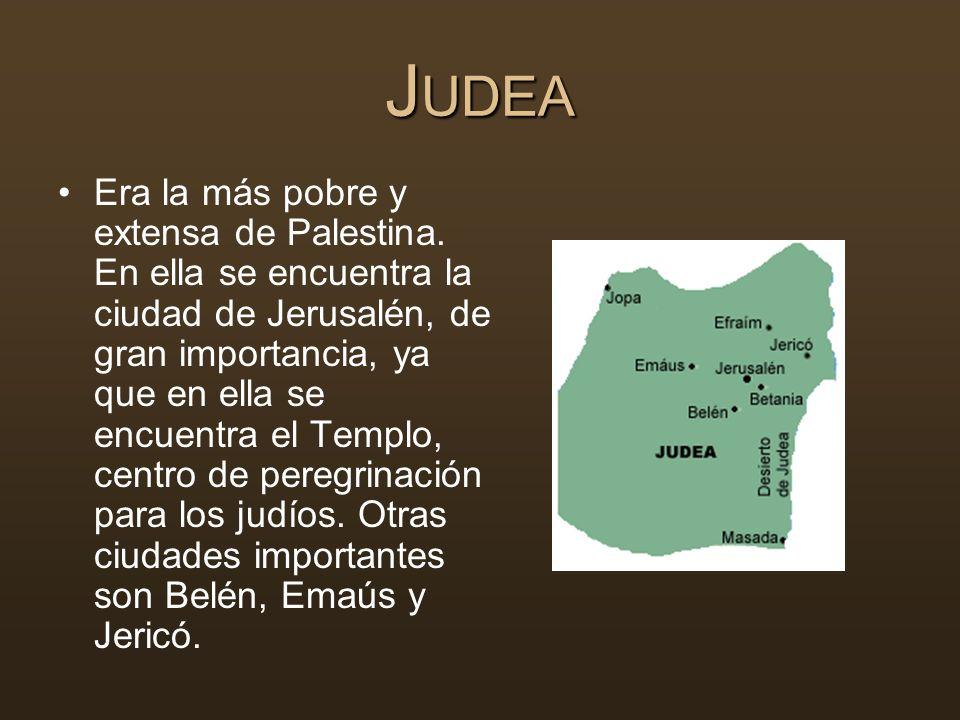 J UDEA Era la más pobre y extensa de Palestina. En ella se encuentra la ciudad de Jerusalén, de gran importancia, ya que en ella se encuentra el Templ