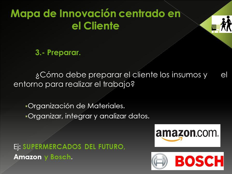 3.- Preparar. ¿Cómo debe preparar el cliente los insumos y el entorno para realizar el trabajo.