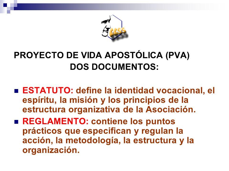 PROYECTO DE VIDA APOSTÓLICA (PVA) DOS DOCUMENTOS: ESTATUTO: define la identidad vocacional, el espíritu, la misión y los principios de la estructura o
