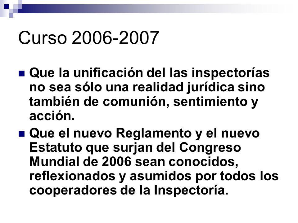 Curso 2006-2007 Que la unificación del las inspectorías no sea sólo una realidad jurídica sino también de comunión, sentimiento y acción. Que el nuevo
