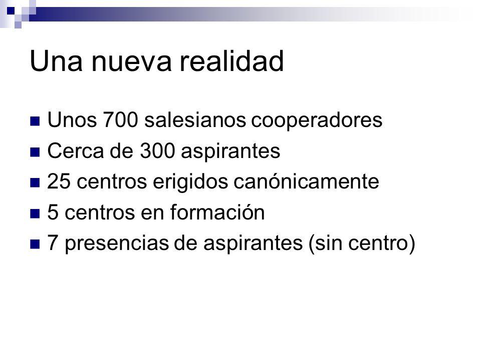 Una nueva realidad Unos 700 salesianos cooperadores Cerca de 300 aspirantes 25 centros erigidos canónicamente 5 centros en formación 7 presencias de a