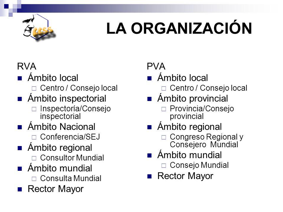 RVA Ámbito local Centro / Consejo local Ámbito inspectorial Inspectoría/Consejo inspectorial Ámbito Nacional Conferencia/SEJ Ámbito regional Consultor