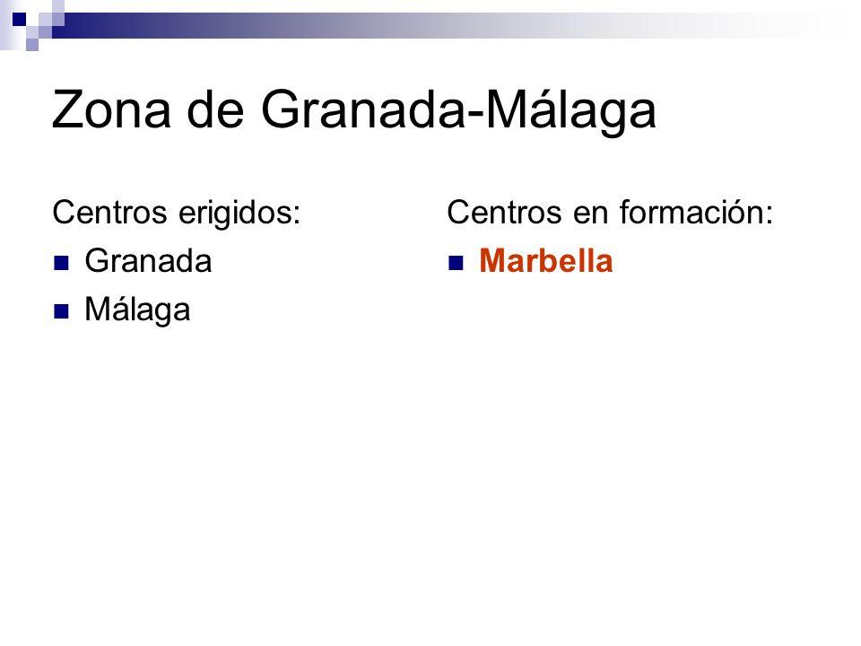 Zona de Granada-Málaga Centros erigidos: Granada Málaga Centros en formación: Marbella