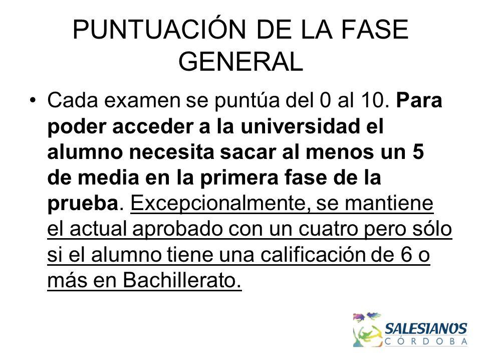 PUNTUACIÓN DE LA FASE GENERAL Cada examen se puntúa del 0 al 10.
