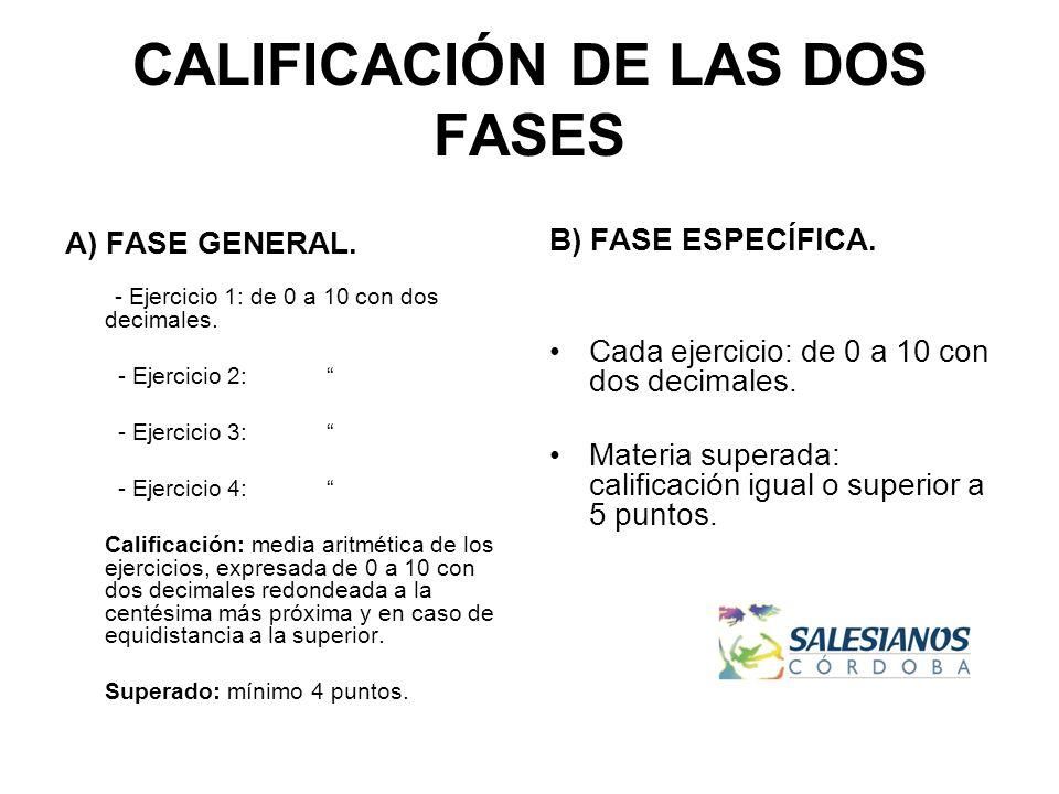 CALIFICACIÓN DE LAS DOS FASES A) FASE GENERAL. - Ejercicio 1: de 0 a 10 con dos decimales.