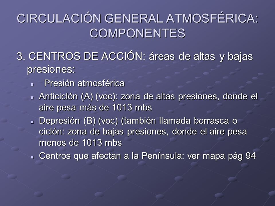 CIRCULACIÓN GENERAL ATMOSFÉRICA: COMPONENTES 3. CENTROS DE ACCIÓN: áreas de altas y bajas presiones: Presión atmosférica Presión atmosférica Anticicló