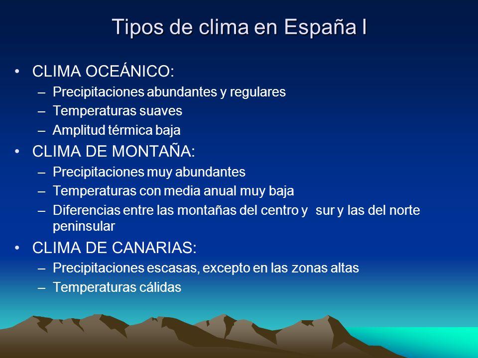 Tipos de clima en España I CLIMA OCEÁNICO: –Precipitaciones abundantes y regulares –Temperaturas suaves –Amplitud térmica baja CLIMA DE MONTAÑA: –Prec