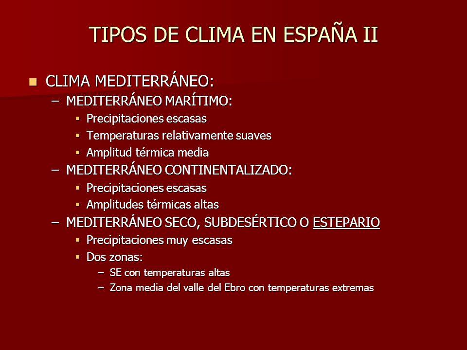 TIPOS DE CLIMA EN ESPAÑA II CLIMA MEDITERRÁNEO: CLIMA MEDITERRÁNEO: –MEDITERRÁNEO MARÍTIMO: Precipitaciones escasas Precipitaciones escasas Temperatur