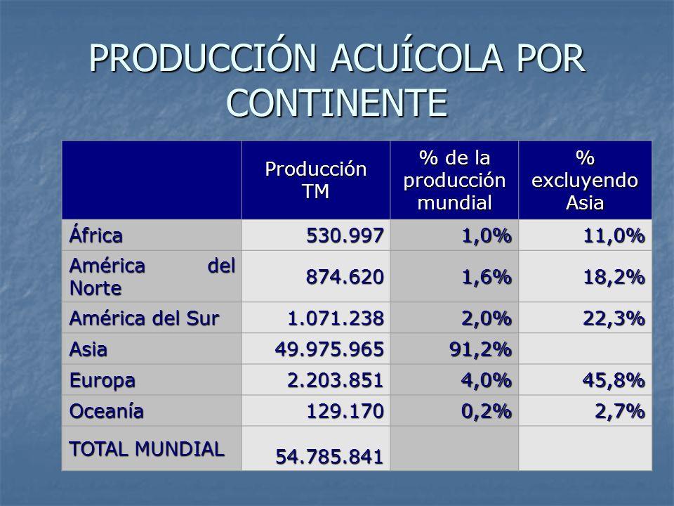 PRODUCCIÓN ACUÍCOLA POR CONTINENTE Producción TM % de la producción mundial % excluyendo Asia África530.9971,0%11,0% América del Norte 874.6201,6%18,2