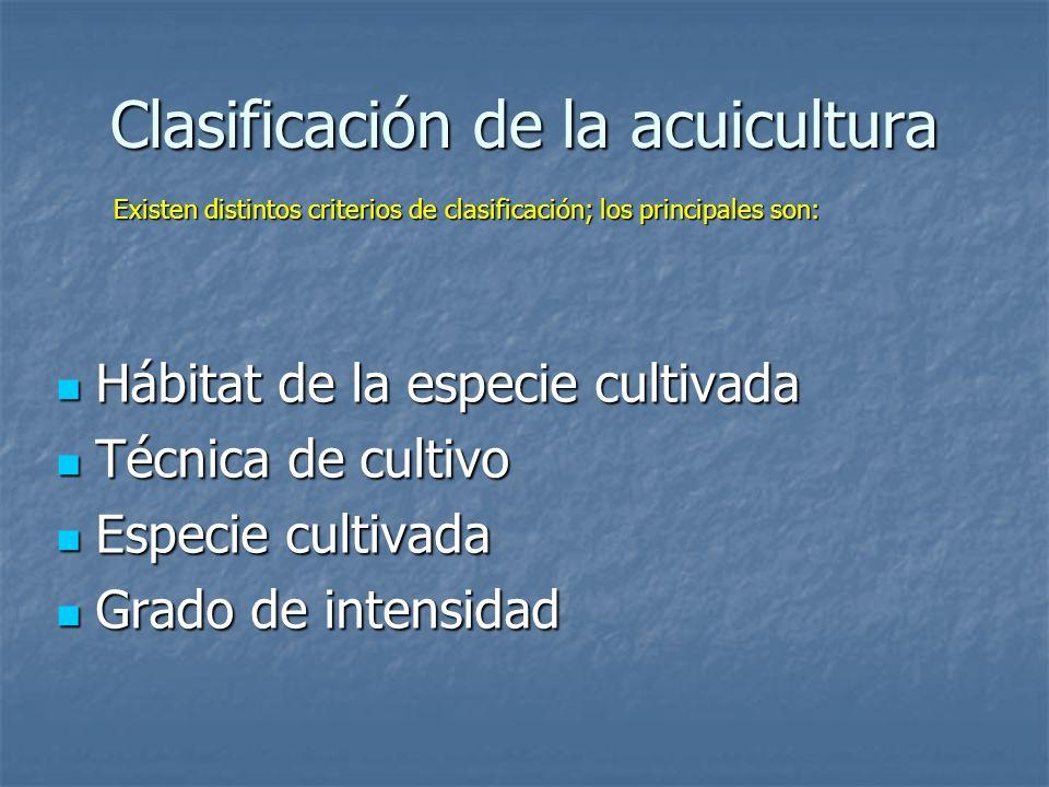 Clasificación de la acuicultura Hábitat de la especie cultivada Hábitat de la especie cultivada Técnica de cultivo Técnica de cultivo Especie cultivad