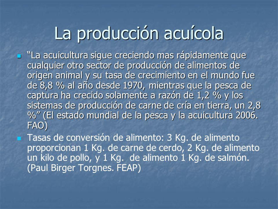La producción acuícola La acuicultura sigue creciendo mas rápidamente que cualquier otro sector de producción de alimentos de origen animal y su tasa