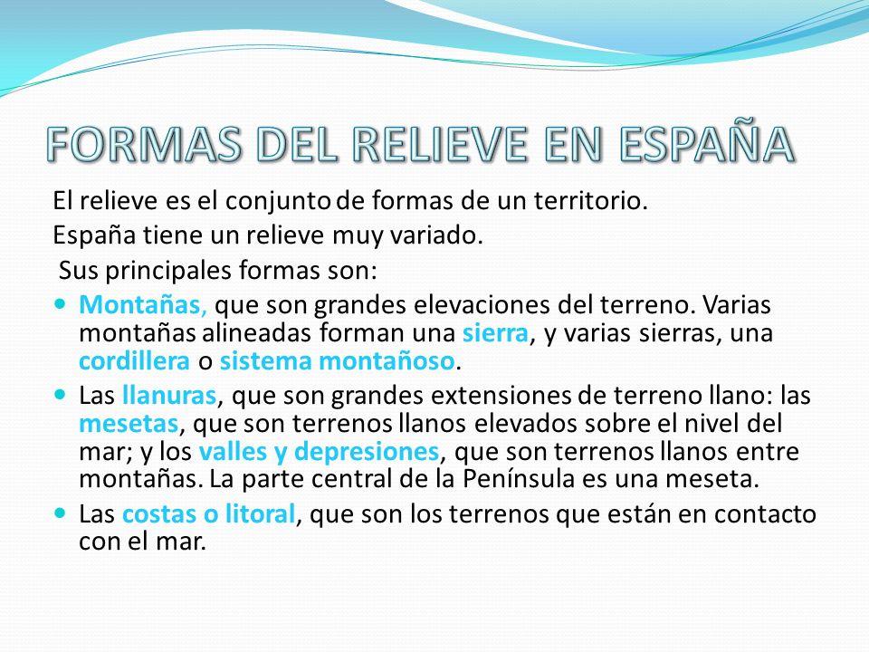 El relieve es el conjunto de formas de un territorio. España tiene un relieve muy variado. Sus principales formas son: Montañas, que son grandes eleva