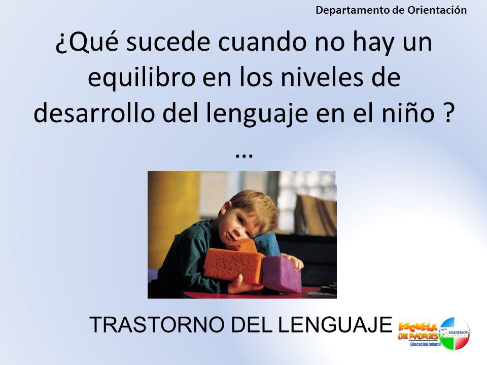 ¿Qué sucede cuando no hay un equilibro en los niveles de desarrollo del lenguaje en el niño ? … TRASTORNO DEL LENGUAJE Departamento de Orientación